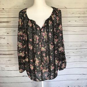 Lauren Conrad Sheer Black Floral Print Lace Top S